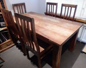 Solid Mango Wood 6-8 Seater Dining Table & Chairs