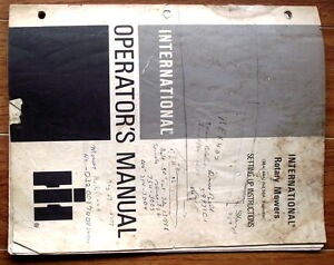 IH Rotary Mowers Operator's Manual