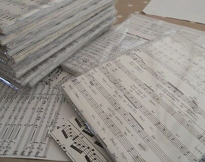 50 A5 Sheets Reclaimed Paper Decoupage - Music Manuscript