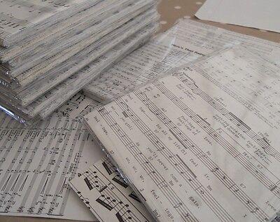 50 A5 Sheets Reclaimed Paper Decoupage - Music Manuscript