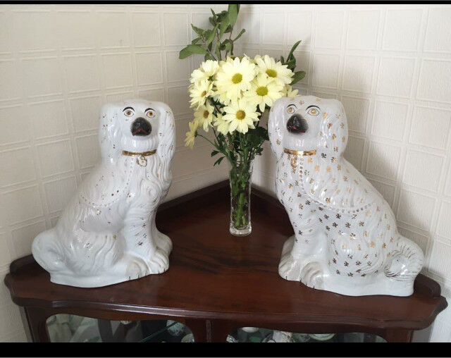 Pair of large Vintage (1950's) Staffordshire style white and gold Spaniels