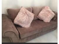 NEW DUSKY PINK VELVET DOUBLE SOFA BED SOFA