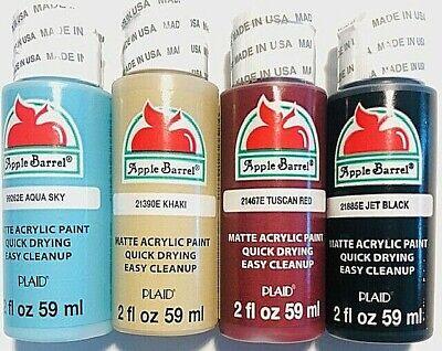 Apple Barrel Acrylic MATTE Assorted Colors Crafting Paint , 2 oz - 4 Piece