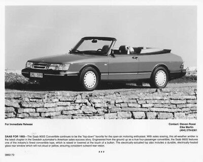 1993 Saab 900S Convertible Press Photo 0001 for sale  Shipping to Canada