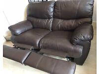 2 Seater Dark Brown Leather Reclining Sofa
