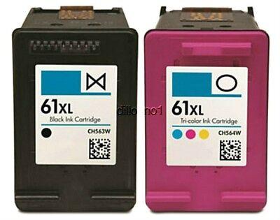 2-pk #61 XL Black/Color Ink For HP ENVY 4500 4501 4502 4504 5530 5531 5535