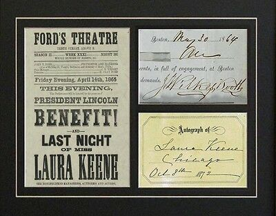 John Wilkes Booth  Laura Keene Autographs Repro Signatures Abraham Lincoln print