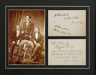 Wild Bill Hickock & Buffalo Bill Cody Autographs Photograph Repro Tombstone AZ