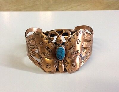 Vintage Bell Trading Post COPPER BUTTERFLY CUFF BRACELET w/ Turquoise