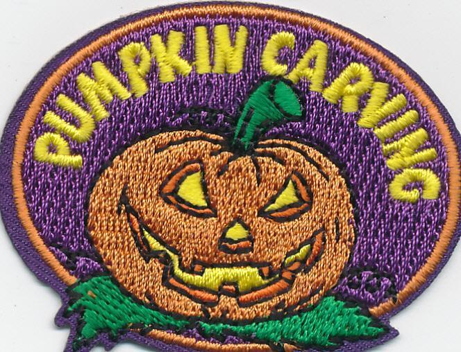 Girl Boy PUMPKIN CARVING  Jack O Lantern Patches Crests Badge SCOUT GUIDE Face
