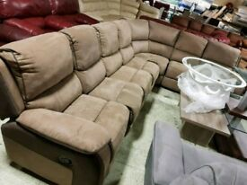 Brown coffee suede corner sofa recliner