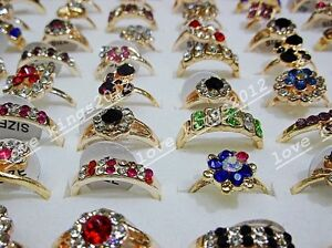 Wholesale Lots Mixed 50pcs Exquisite Flower Crystal Rhinestone Gold T Rings FREE