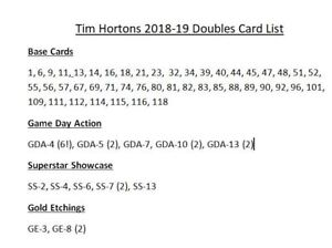 Tim Hortons Cards to Trade - Updated List