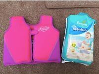 Girls 2-3 swim vest and swimming nappies 3-4