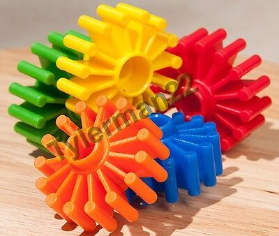 Foot Toy - 10 BRIGHT COLORFUL PLASTIC GEARED WHEELS BIRD PARROT FOOT TOY PART FOOT TOY BASE