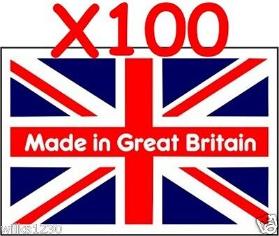 100 made in great britain flag Stickers self adhesive vinyl Labels decals 30x20