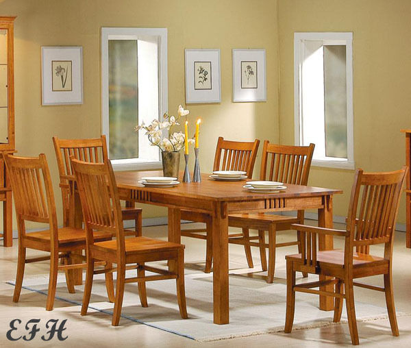New 7pc Marbrisa Mission Style Warm Brown Oak Finish Wood Dining Table Set