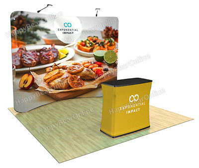 Trade show booth: waveline 10ft curved Display + casetopodium + 2 led lights