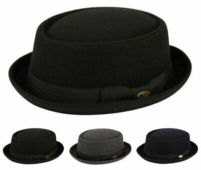 Round Shape Wool Fedora Hat w/Grosgrain Band Classic Pork Pie Stingy Brim Clothing, Shoes & Accessories
