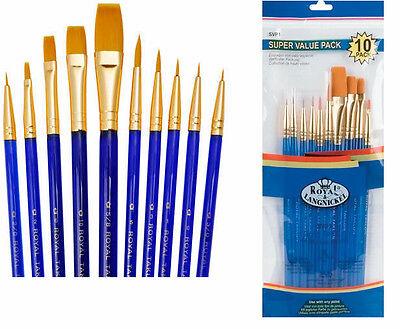 PAINT BRUSHES 10 Brush Set Royal Langnickel Art Studio 10 Pack SVP1 New