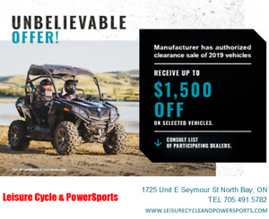 SALE! UP TO $1500.00 off CFMOTO, Low As $4595.00