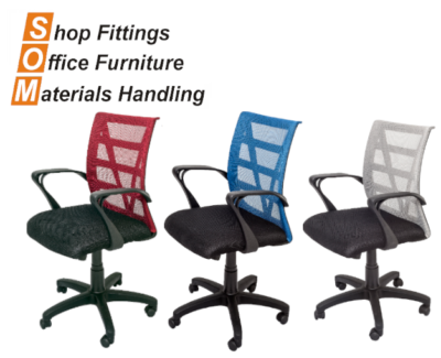 Mesh Back Office Chairs Red, Blue, Silver