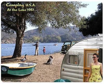 Camping Trailer Lake Fishing Boat Metal Sign Man Cave Garage Club Grossman LG448