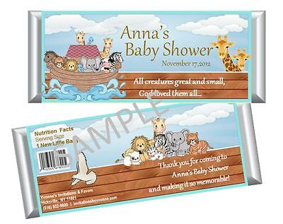 Noah's Ark Candy Bar Wrappers - Baby Shower, First Birthday Favors - Set of 12 - Noahs Ark Baby Shower