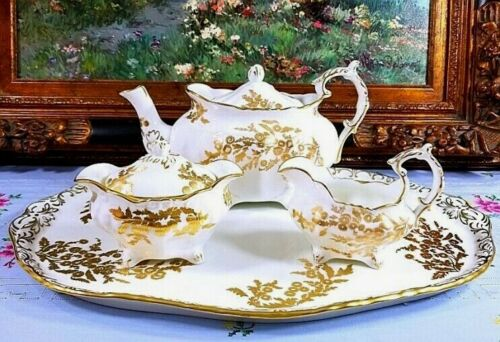"Hammersley ""Golden Tansy"" Teapot Creamer Sugar Bowl Tray Set"