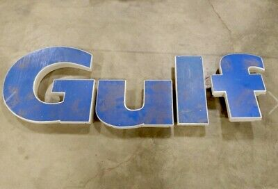 Vintage Gulf Gas Oil Station Canopy Everbrite Letters Light-Up Sign