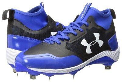 a83fcc2fe32e Under Armour UA Heater Mid Steel Baseball Cleats Men's Size 13 Blue  1279232-061