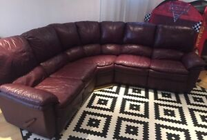 Authentic leather sectional sofa couch reclines
