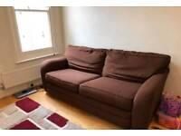 X2 brown seater sofa