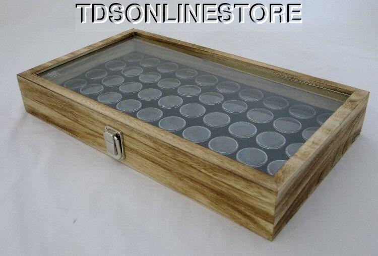 Rustic Antique Oak Color Glass Top Display Case With 50 Gem Jars Black