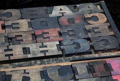 Antique Rare Alphabet 56pcs - 4.53 Wood Printing Blocks Letterpress Wooden Type