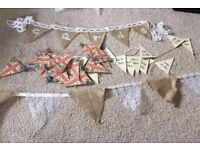 Job lot of bunting ideal for wedding or party hessian and lace Union Jack