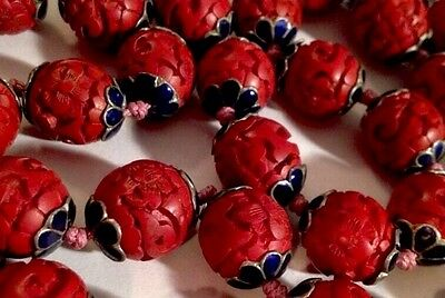 CINNABAR CLOISONNE BEAD BEADED NECKLACE CARVED HAND KNOTTED VINTAGE 38 BEADS 31