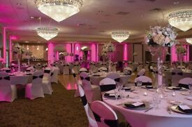 Wedding/ Party Venue decorations, Heavy duty backdrop hire from £60, chair covers from £0.60