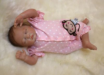 "49cm/20"" Reborn Baby Handmade Newborn doll Girl Lifelike Vinyl silicone/ DK-15"