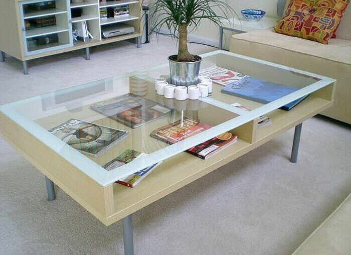 ikea magiker coffee table with glass top v condition in clydebank west dunbartonshire