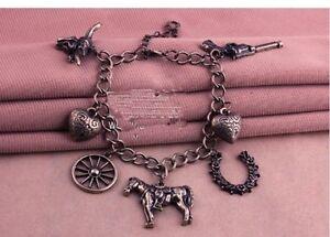 Hot-Vintage-Cowboy-Pistol-Cow-Head-Wheels-Love-Horse-Pendant-Bracelet-Bronze