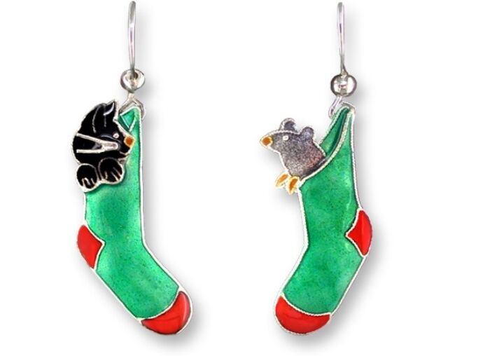 Christmas Earrings ~ Cat & Mouse Stockings - Pals, Sterling Silver, Zarah, X-Mas
