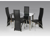 Madyson Contemporary Glass Dining Table Set with 4 chairs