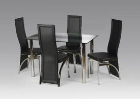 Tempered Glass Madisonn Dining Table Set with Choice of Chairs