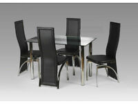 Tempered Glass Luxury Dining Table Set with 4 chairs - Two Types Available Red and Black