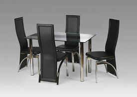 Maddy Glass Luxury Dining Table Set with 4 chairs - RED AND BLACK!
