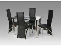 Madison Glass Dining Table Set with 4 chairs
