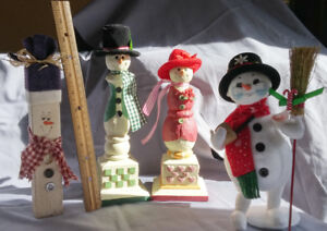 4 Winter Holiday Snowman Christmas Figurines incl Annalee collec