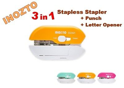Inozto 3 In 1 Stapless Stapler Punch Letter Opener Colors Select