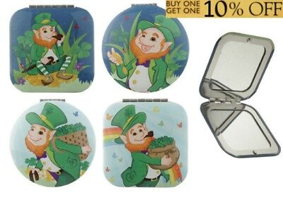 Pocket Folding Mirror - Lucky Leprechaun Elf Irish Mascot Compact Travel Size - Leprechaun Makeup